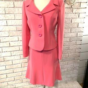 Tahari Arthur S. Levine pink jacket and skirt suit